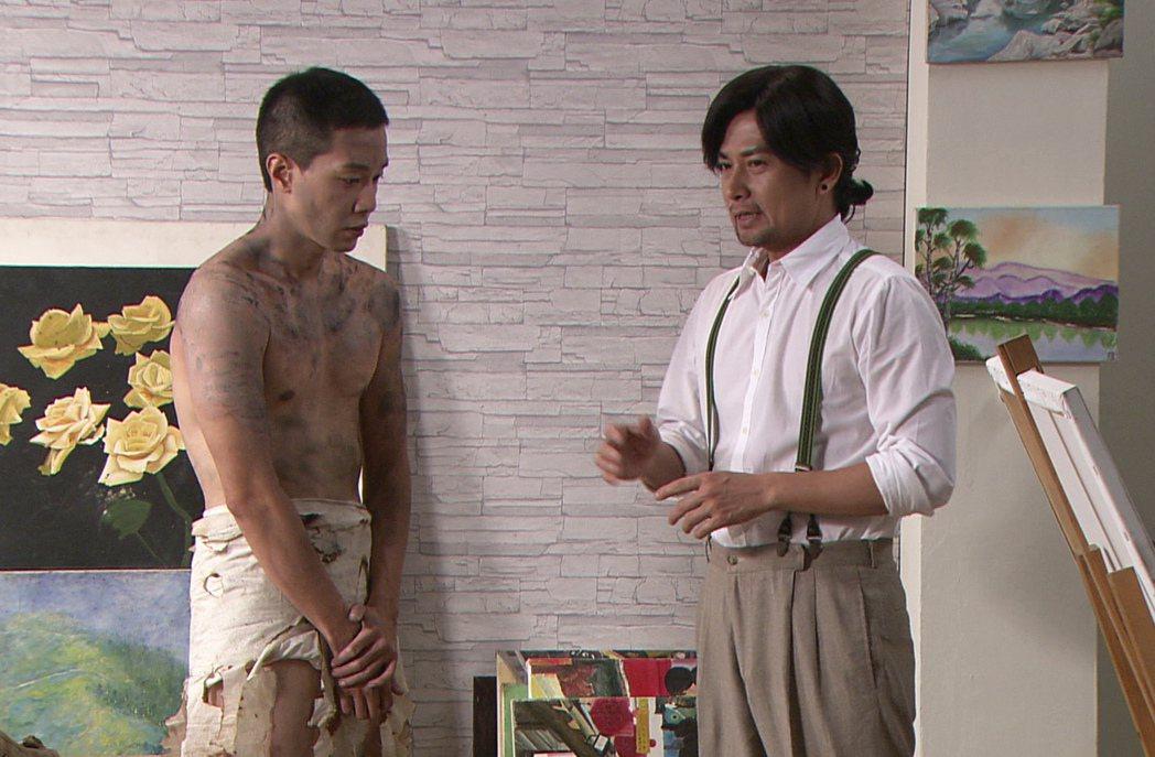 薛仕凌(左)劇中脫光光當人體模特兒。圖/台視提供