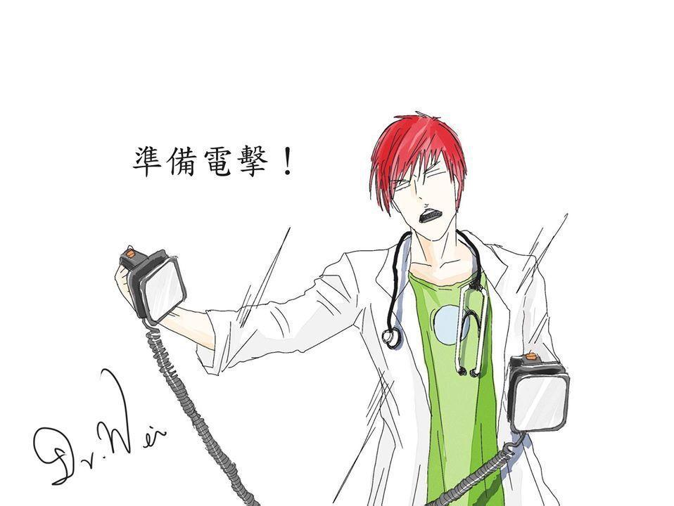 童綜合醫院急診醫學部主任魏智偉過去利用閒暇時間,畫了許多急診相關點滴,同時衛教民...