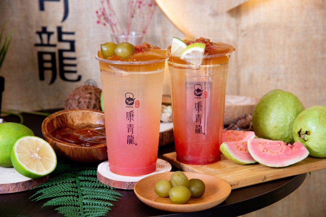 康青龍推出「胭粉紅心芭樂梅」和「胭粉紅心芭檸冰茶」,每杯65元。圖/康青龍提供