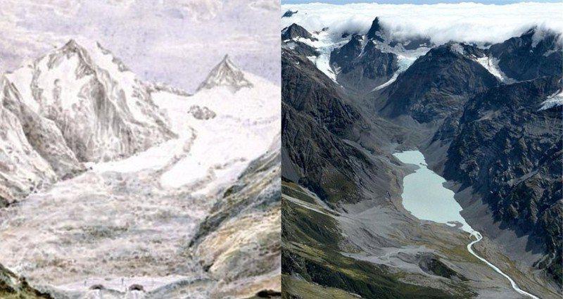 全球暖化越發嚴重,英國研究團隊發出警告,紐西蘭的南阿爾卑斯山(The Southern Alps)過去400年已經失去超過一半的冰河覆蓋區。圖左為1866年南阿爾卑斯山的萊爾冰河(Lyell Glacier)繪圖,圖右為2018年的萊爾冰河。圖/每日郵報