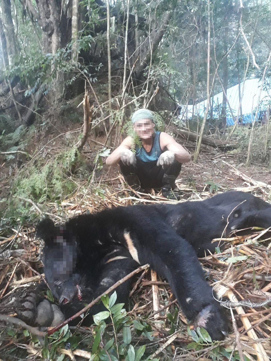 巨木盜伐集團捕獲黑熊後開心合影,檢警上山時黑熊已化為白骨。記者巫鴻瑋/翻攝