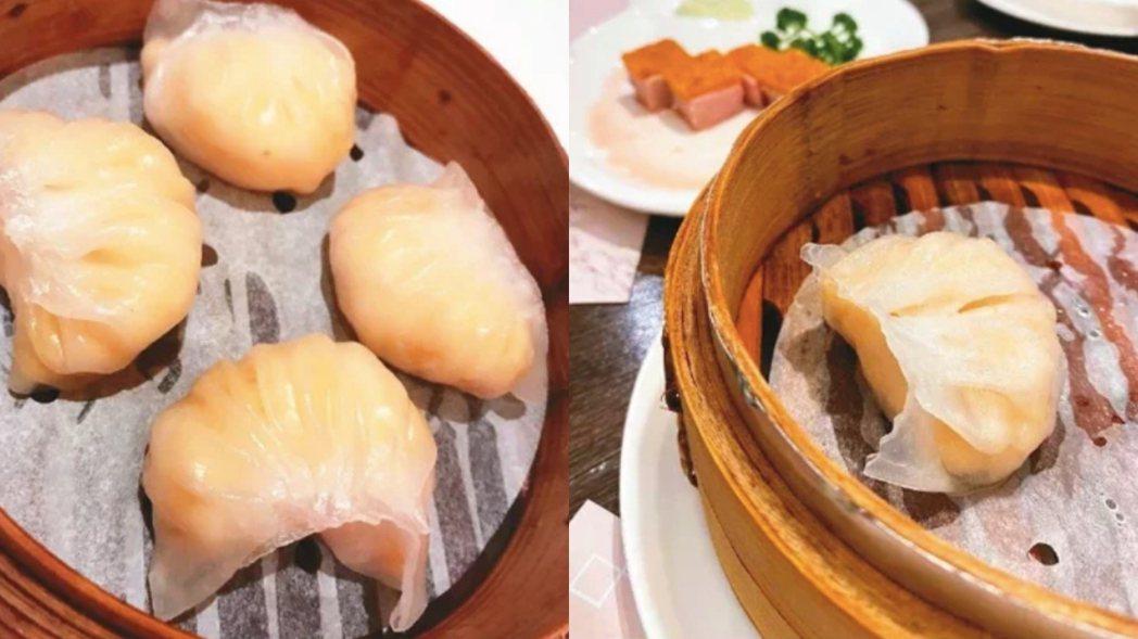 圖左是一家香港名店的作品。蝦餃皮光滑亮麗,摺痕清晰立體,蝦餃餡味道鮮美;圖右是在...