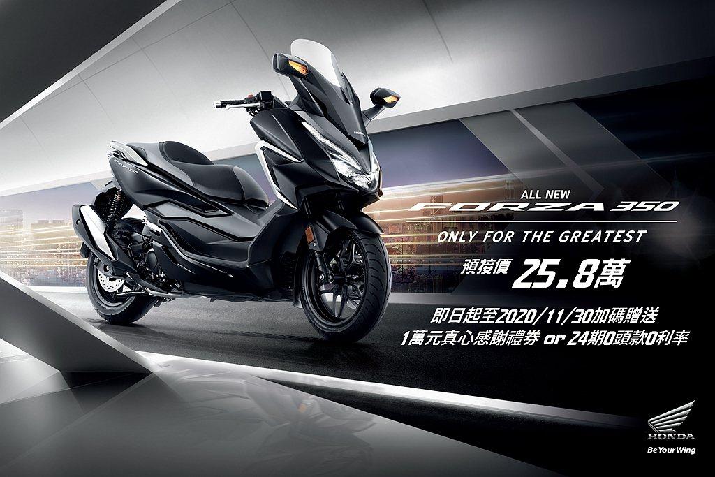Honda Taiwan在8月14日正式發表全新2021年式FORZA 350,...