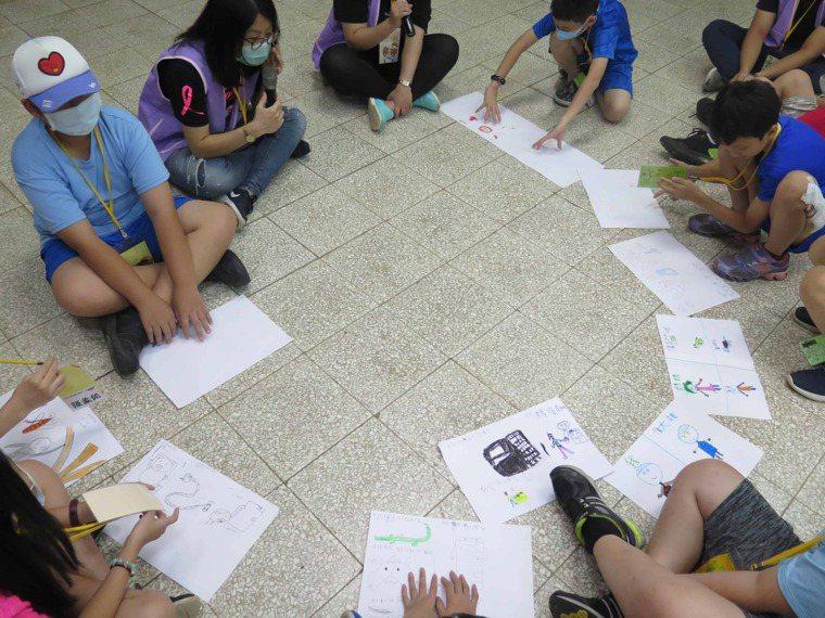 癌症希望基金會社工透過情境遊戲和藝術創作引導孩子學習與情緒相伴 圖/癌症希望基金...