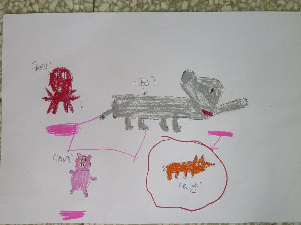 孩子畫出家人並分享創作緣由 圖/癌症希望基金會提供