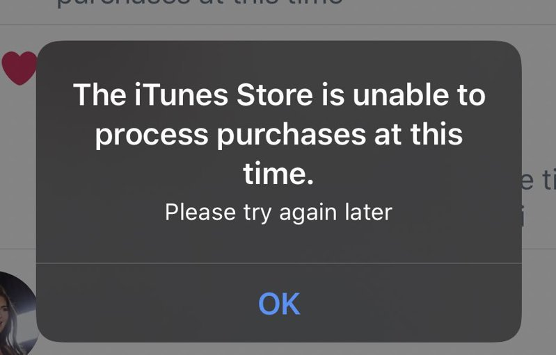 蘋果用戶發現,iPhone、iPad等裝置上不斷跳出iTunesStore相關錯誤訊。 圖/翻攝自twitter@kylieIands