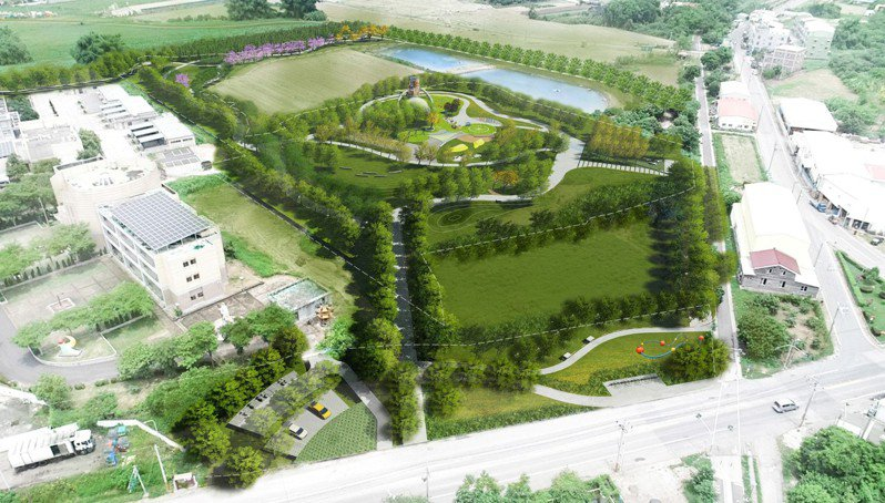 台南溪北首座特色公園落腳鹽水公20,首期明年4月完工,圖為示意圖。圖/台南市政府工務局提供