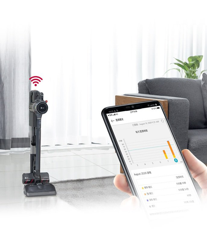 LG CordZeroThinQ A9 K系列WIFI濕拖無線吸塵器可利用 Th...