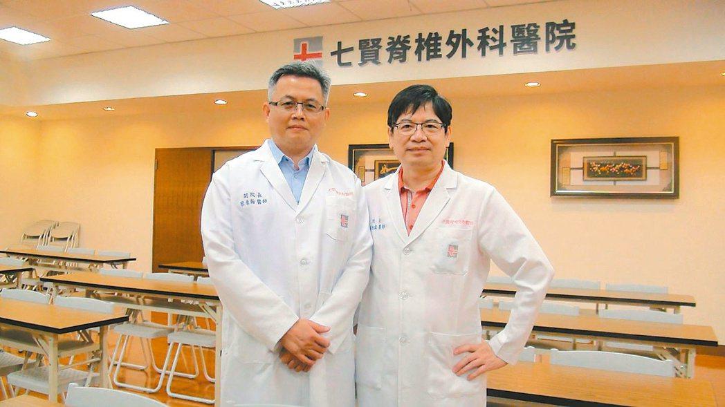 黃旭霖(右)七賢脊椎外科醫院院長、蔡東翰(左)副院長 圖/記者王昭月