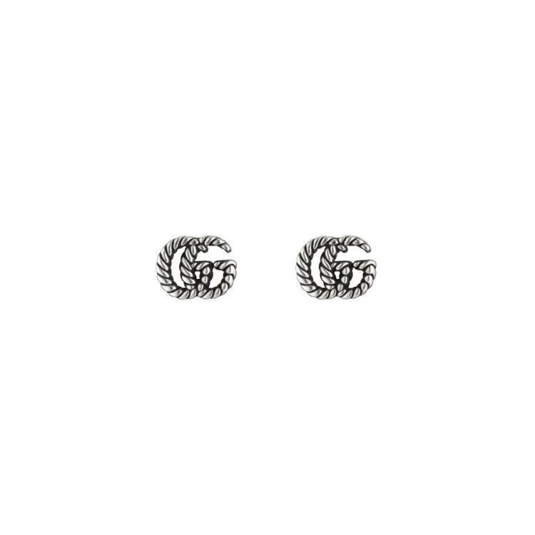 GUCCI,GG Marmont織花雙G耳環,復古銀處理,7,600元。圖 / ...