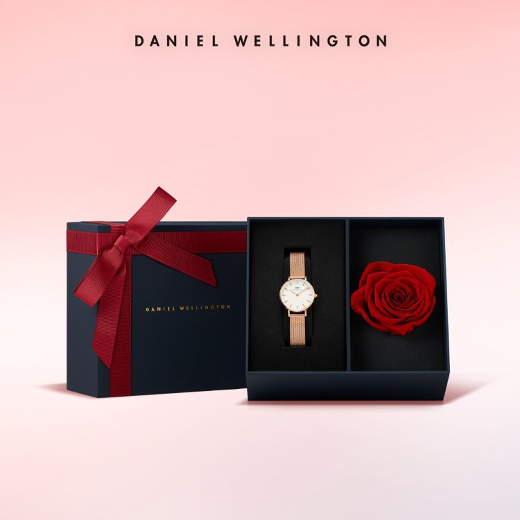 Daniel Wellington柔光粉玫瑰金米蘭金屬表,永生花表盒組,momo...