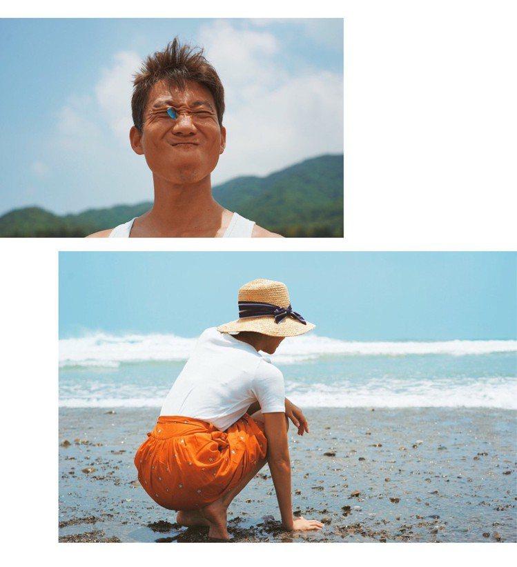 隨棠和先生Tony在淨灘時拍出一系列具有青春氣息的照片。圖/取材自IG