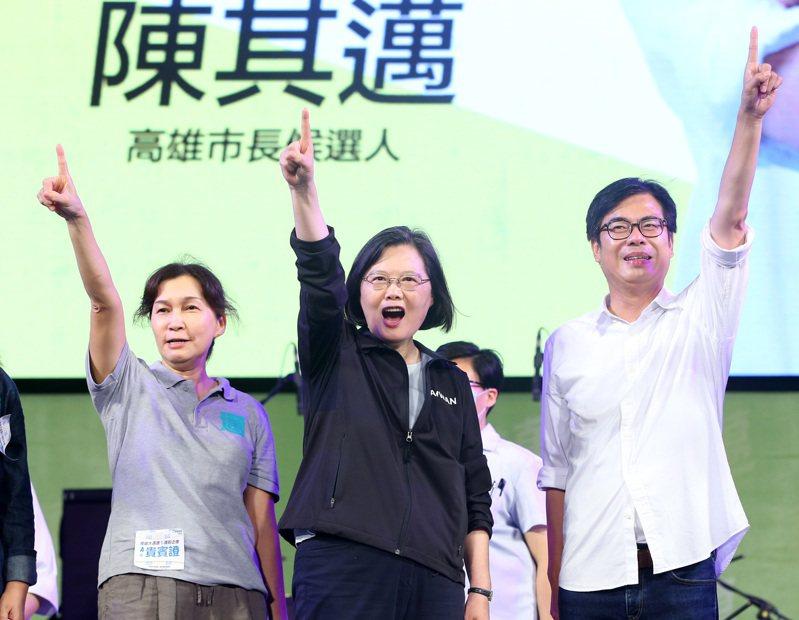 高雄市長補選結果確定,民進黨候選人陳其邁以67萬1804票勝選,得票率70.03% 。本報資料照片