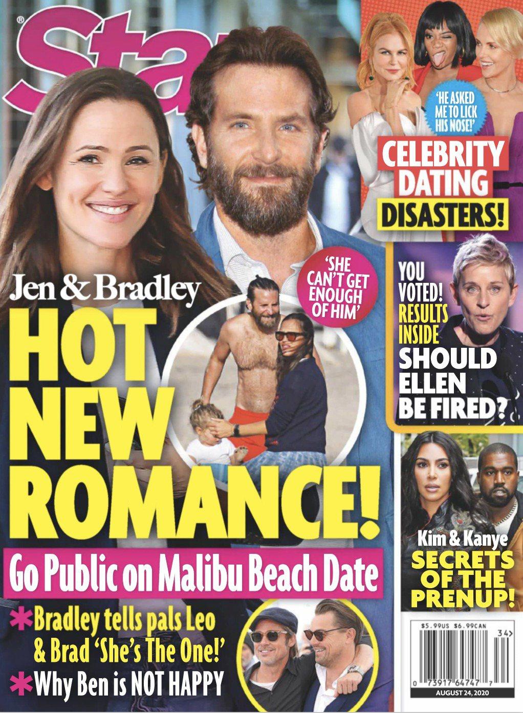珍妮佛嘉納與布萊德利庫柏被雜誌封為最新熱門好萊塢緋聞情侶。圖/摘自Star