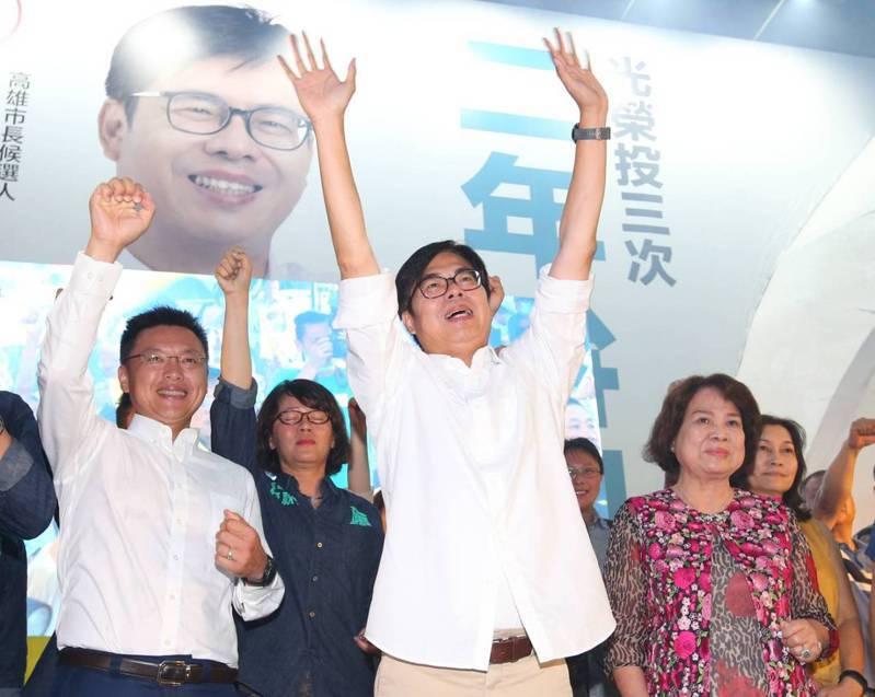 高雄市長補選結果揭曉,民進黨陳其邁席捲7成選票,當選高雄市長。記者林澔一/攝影