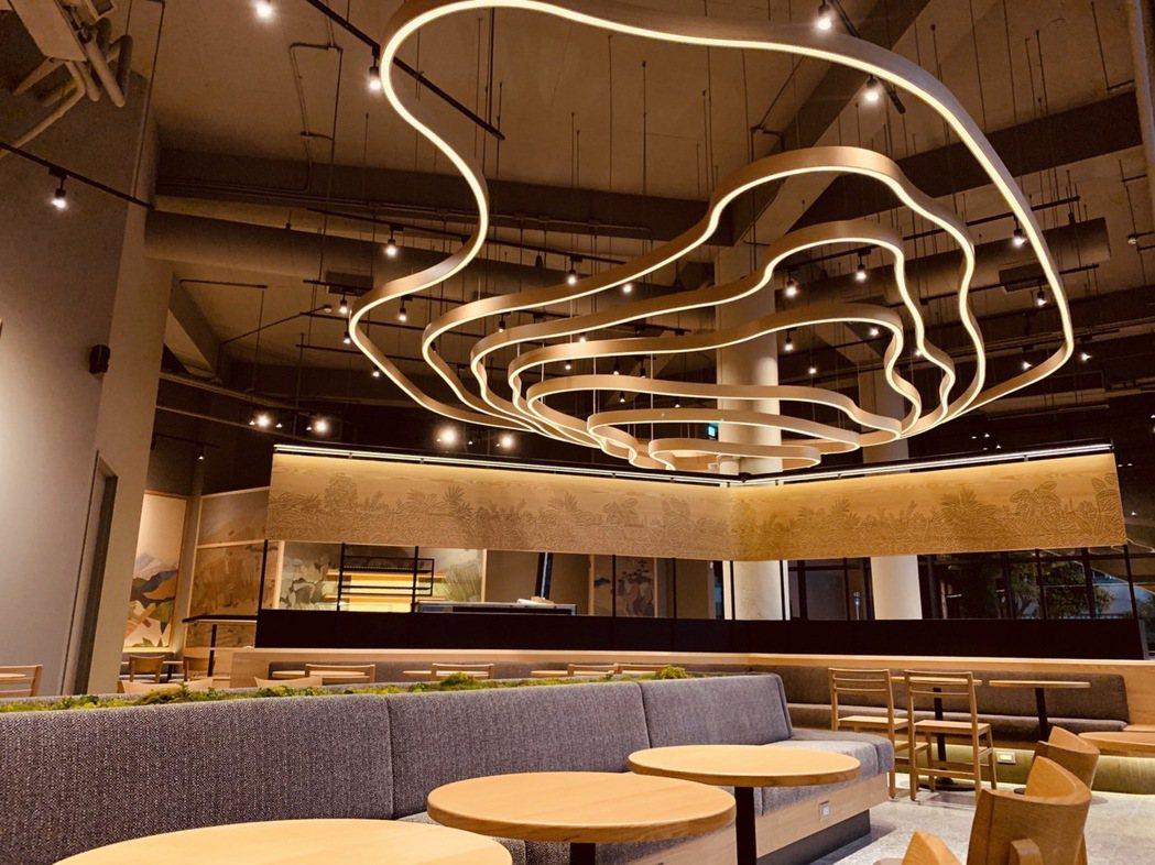 台南新市門市內部吧檯上方,以獨特的等高線圈造型,描繪出咖啡莊園的景觀坡地形態。 ...