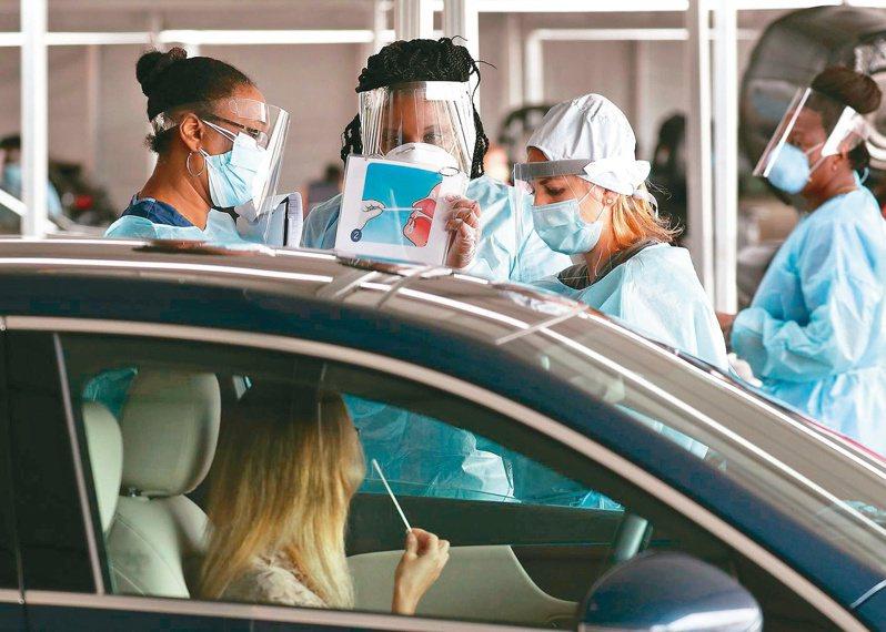 美國新冠肺炎疫情日趨嚴重,將加強篩檢。圖為疫情最嚴重之一的佛羅里達州邁阿密一名醫護教市民如何使用鼻拭子檢測。(法新社)