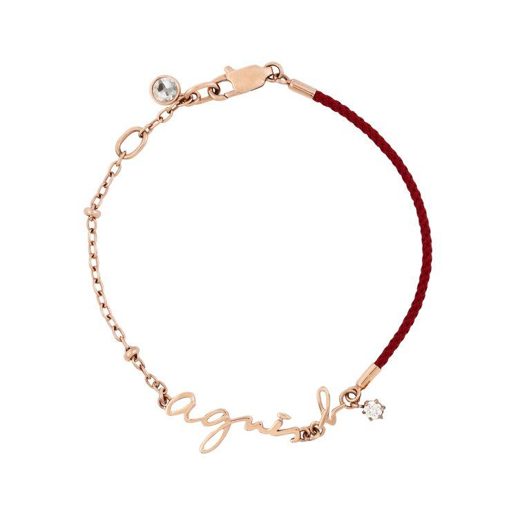 玫瑰金配紅繩手鍊,2,580元。圖/agnès b.提供