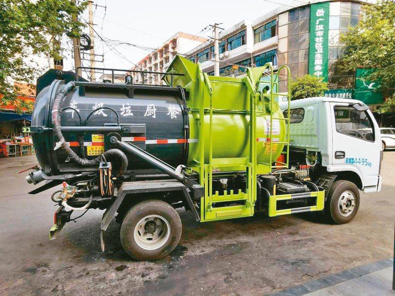 德陽廣漢市試行生態無害化的餐廚垃圾處置方式。能「變廢為寶」,圖為全封閉的新型餐儲垃圾分類收集車。圖/本報四川德陽傳真