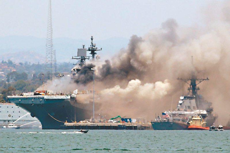 美軍兩棲攻擊艦「好人理查號」上月十二日停泊加州聖地牙哥時發生大火。(法新社)