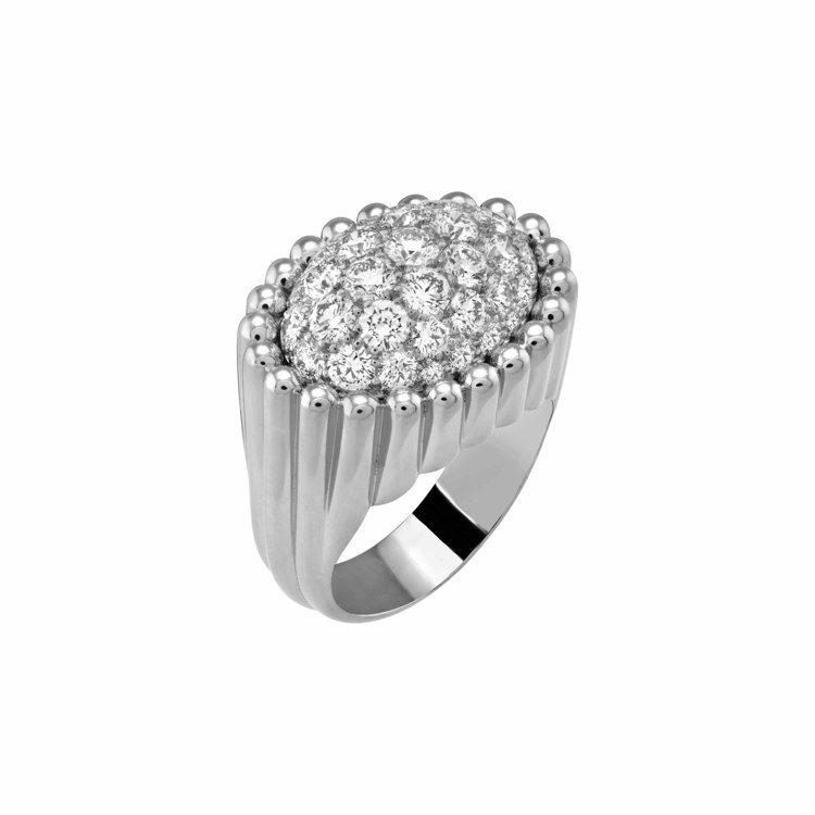 梵克雅寶Perlée diamonds pavé戒指,白K金鑲嵌鑽石,67萬...