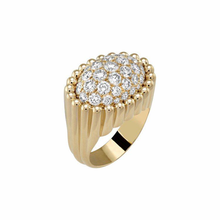 梵克雅寶Perlée diamonds pavé戒指,黃K金鑲嵌鑽石,63萬...