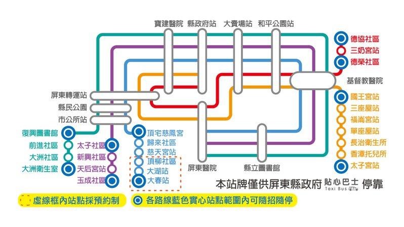 屏東小黃公車路線圖,也導入預約服務。圖/屏東縣府交旅處提供