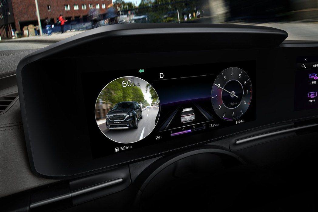 第四代Kia Carnival搭載BVM盲區圖像監測系統。 摘自Kia