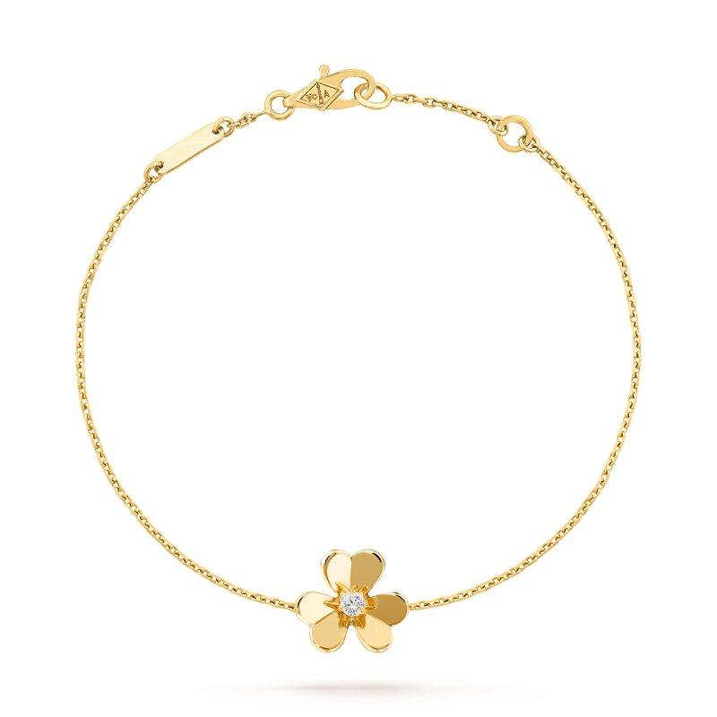 梵克雅寶Frivole黃K金鑲鑽手鍊迷你款,48,900元。圖/梵克雅寶提供