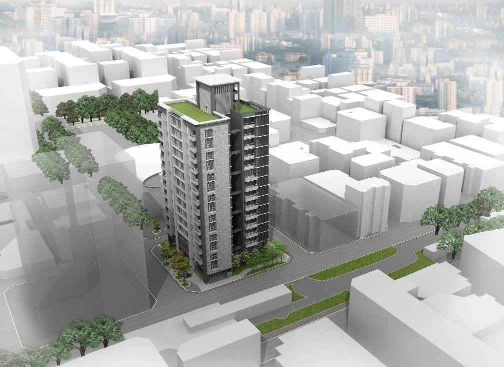 模擬圖,北市中山段都更案規畫打造1棟高15層的鋼筋混泥土大樓,預計2023年第1...