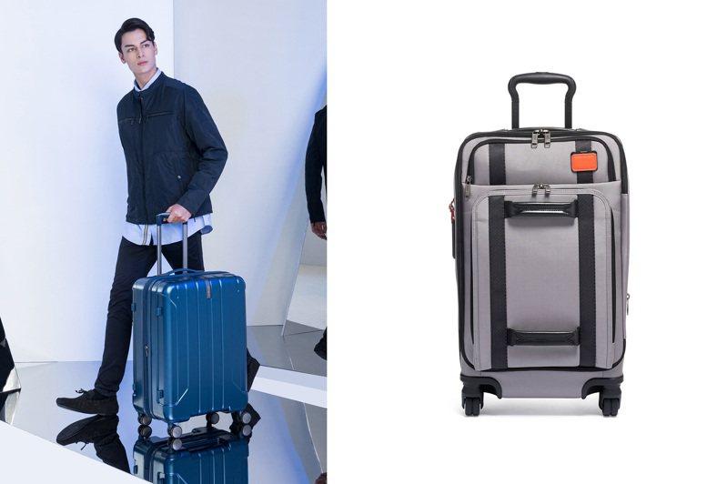 TUMI在今年首次推出永續發展系列行李箱;而Samsonite則提供了限時限量「圓夢計畫」。圖/TUMI、Samsonite提供