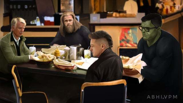 概念藝術家Abhinav重現「復4」後的初代成員聚餐照,卻已少了2位成員。圖/摘