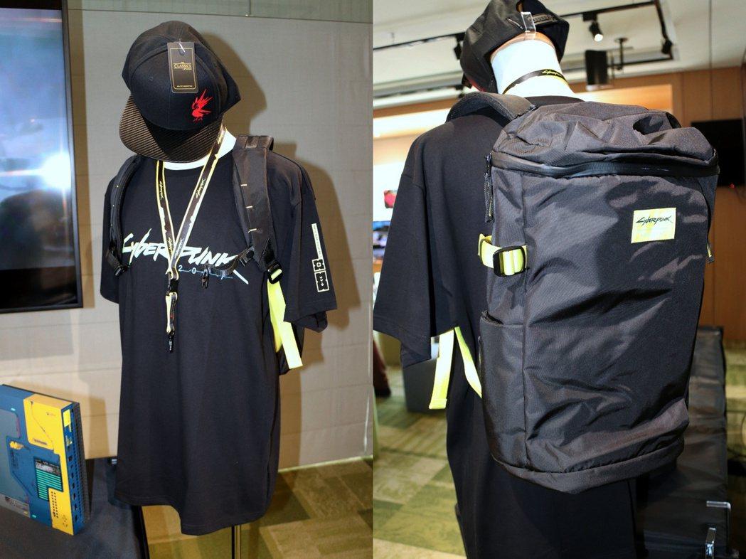 《電馭叛客2077》帽子、T-Shirt、證件帶及後背包。