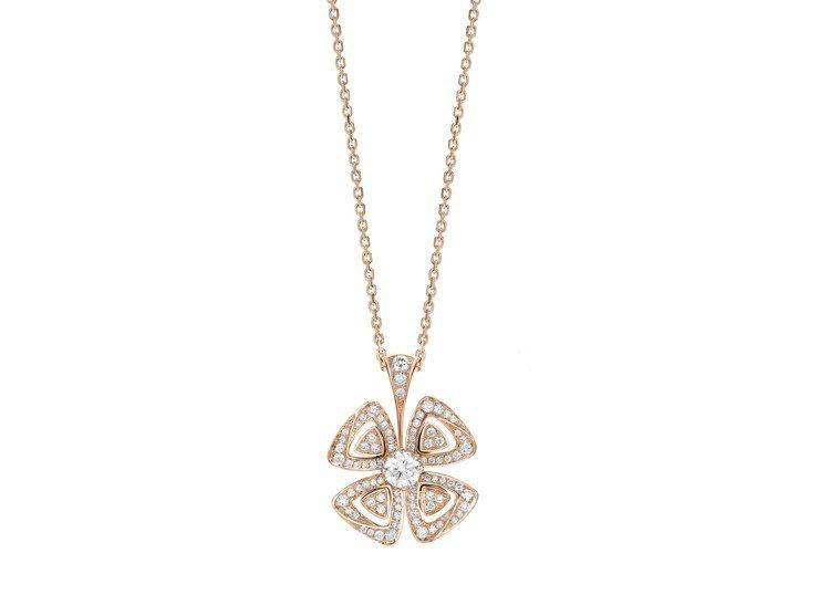 BVLGARI FIOREVER系列玫瑰金鑽石項鍊,26萬4,900元。圖/寶格...
