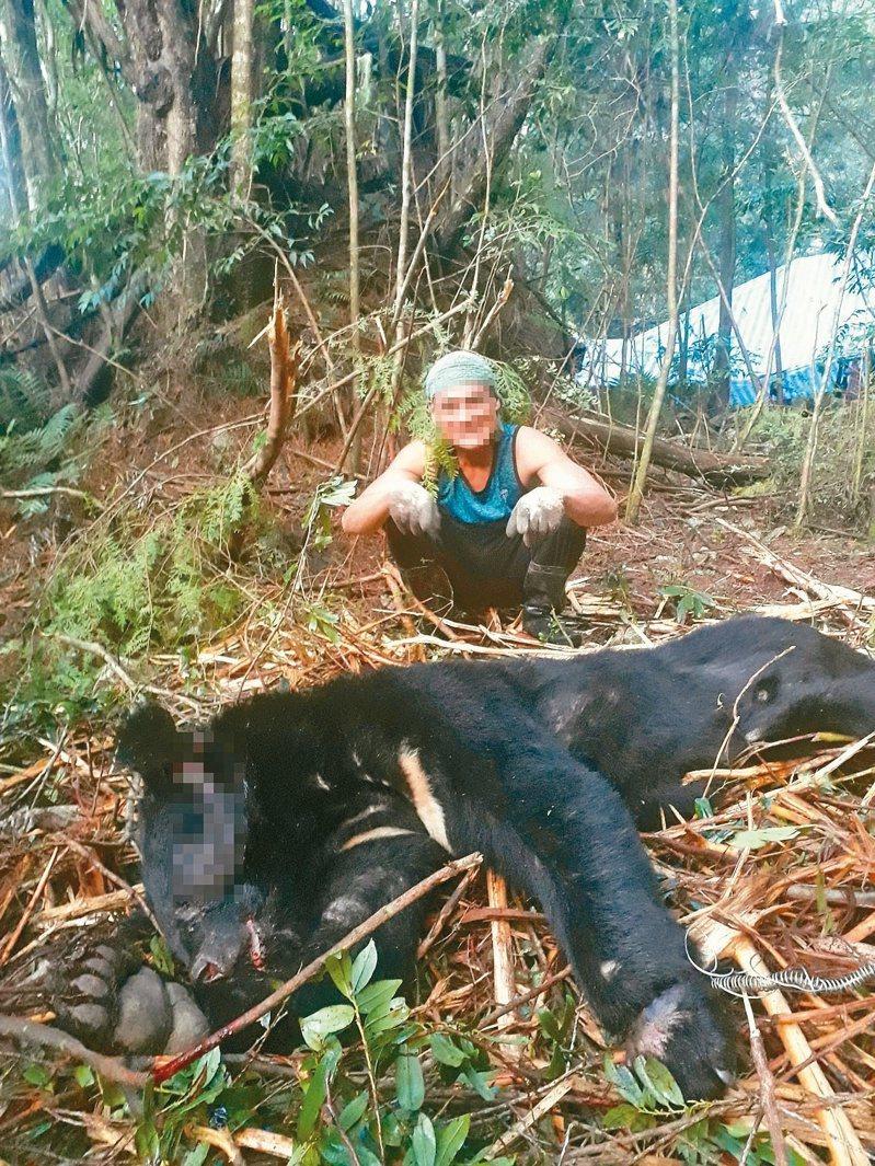 巨木盜伐集團捕獲黑熊後開心合影,新竹檢警上山時黑熊已化為白骨。記者巫鴻瑋/翻攝