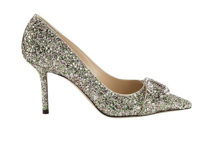 SARESA 85 C字鑽釦亮片高跟鞋,38,800元。圖/Jimmy Choo...