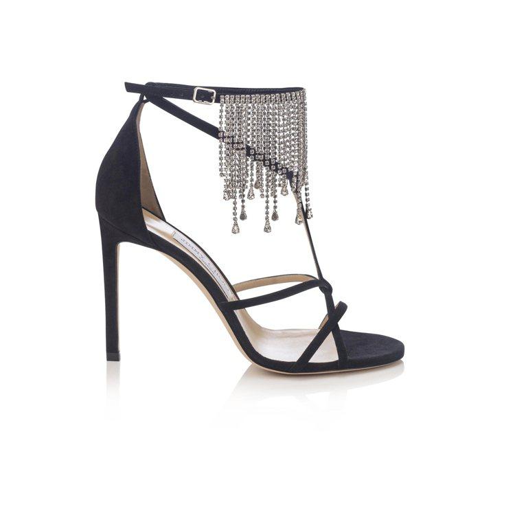 BIJOU水晶綴飾細高跟涼鞋,55,800元。圖/Jimmy Choo提供