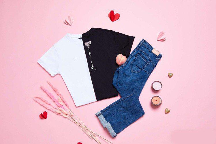 為將到來的七夕情人節,SOMETHING打造情人T恤1,290元。圖/SOMET...