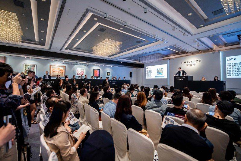 富藝斯於香港舉辦20世紀當代藝術與設計拍賣的現場畫面。圖/富藝斯提供