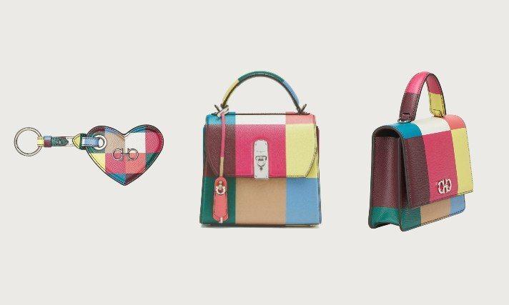 Salvatore Ferragamo推出全新的彩虹系列商品,結合格紋概念,帶來色彩繽紛又帶有古典氣質的風格。圖/Salvatore Ferragamo提供