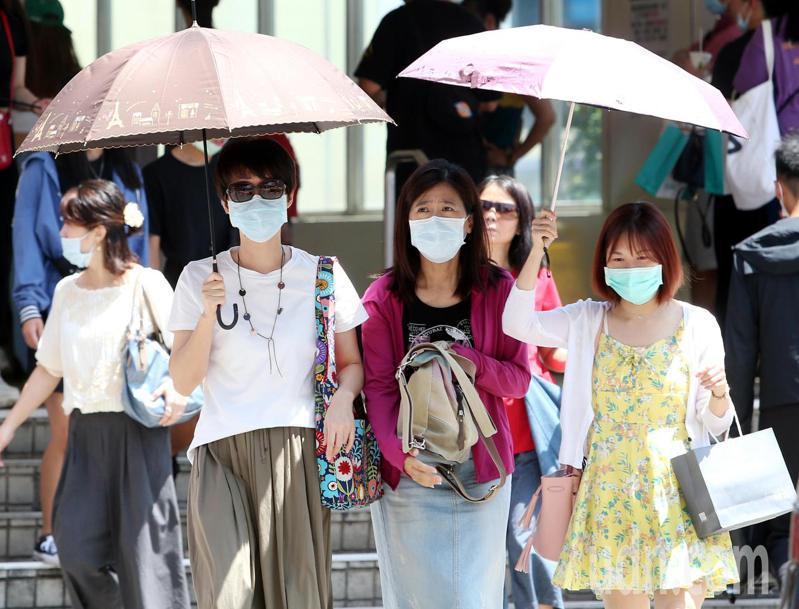 全台晴朗炎熱,外出民眾高溫下仍戴著口罩撐傘遮陽。記者侯永全/攝影