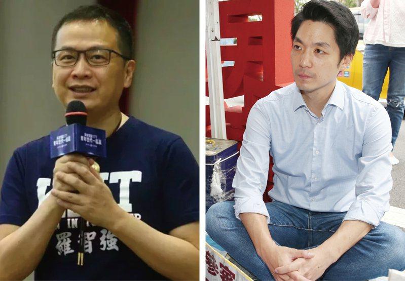 國民黨黨內支持蔣萬安(右)出戰台北市長的不在少數,不過蔣始終沒有具體表態。另一方面,羅智強(左)在各議題強勢出擊,聲量水漲船高,將來可能對蔣萬安造成威脅。圖/聯合報系資料照片