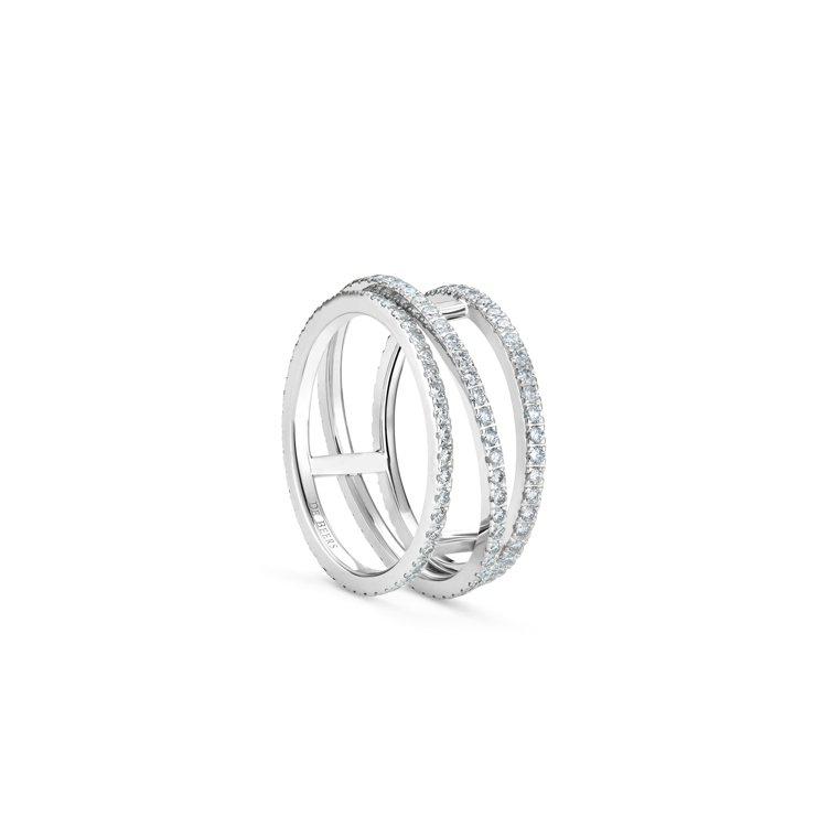 DE BEERS Horizon 18K白金全鑲鑽戒指,19萬2,000元。圖/...