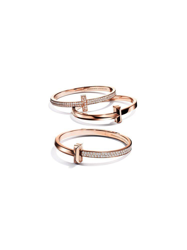 Tiffany T1 18K玫瑰金寬版手環(由上至下)99萬元、18萬7,000...