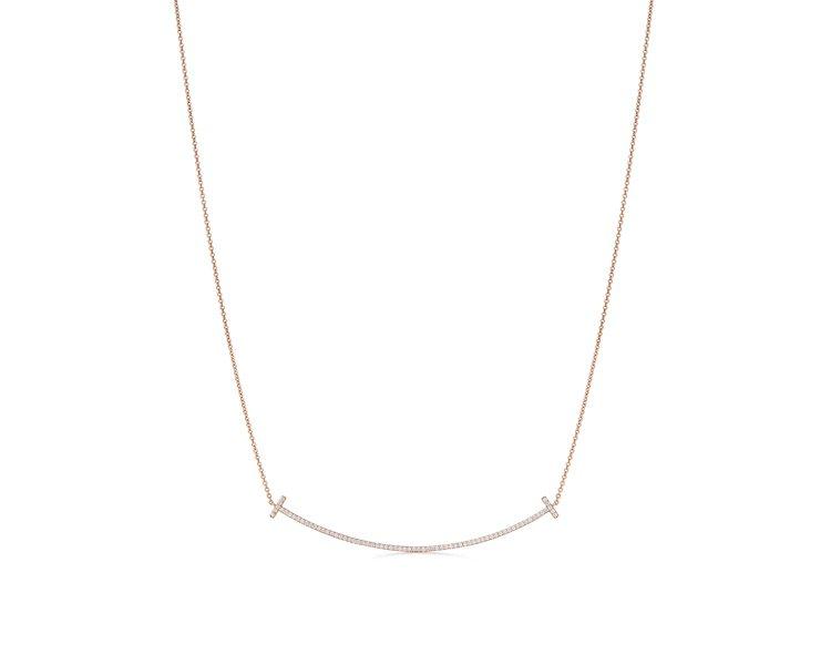 Tiffany T Smile 18K玫瑰金鑲鑽項鍊大型款,13萬8,000元。...