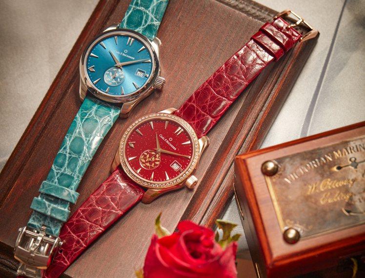 寶齊萊的馬利龍系列自動日曆LOVE腕表共有多種顏色變化,八點鐘還有葉片造型時標,...