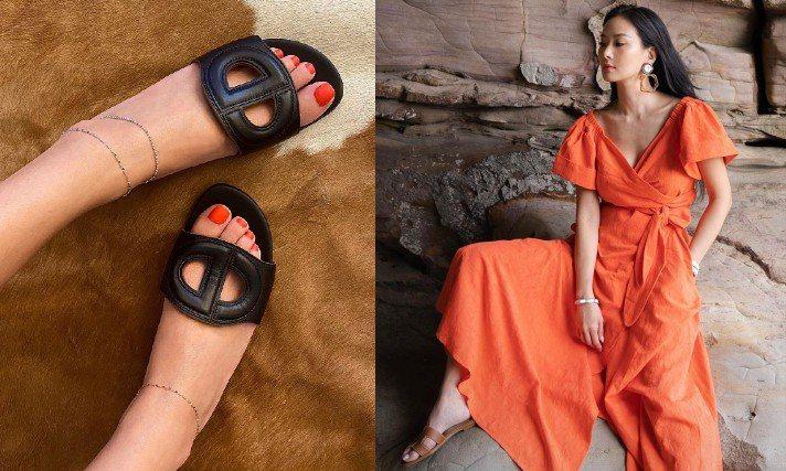 孫芸芸最近愛上線條簡約百搭的拖鞋式涼鞋。圖/摘自IG