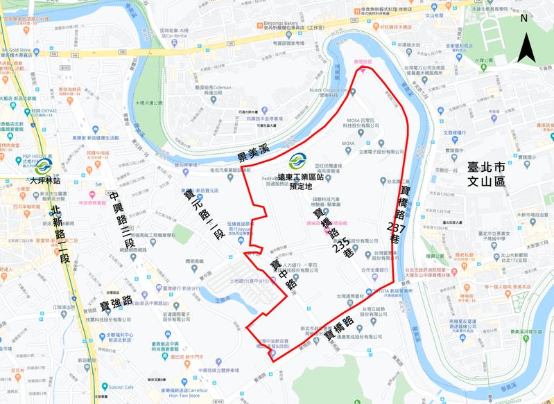 新店榮民鐵工廠範圍位置圖。圖/新北都更處提供