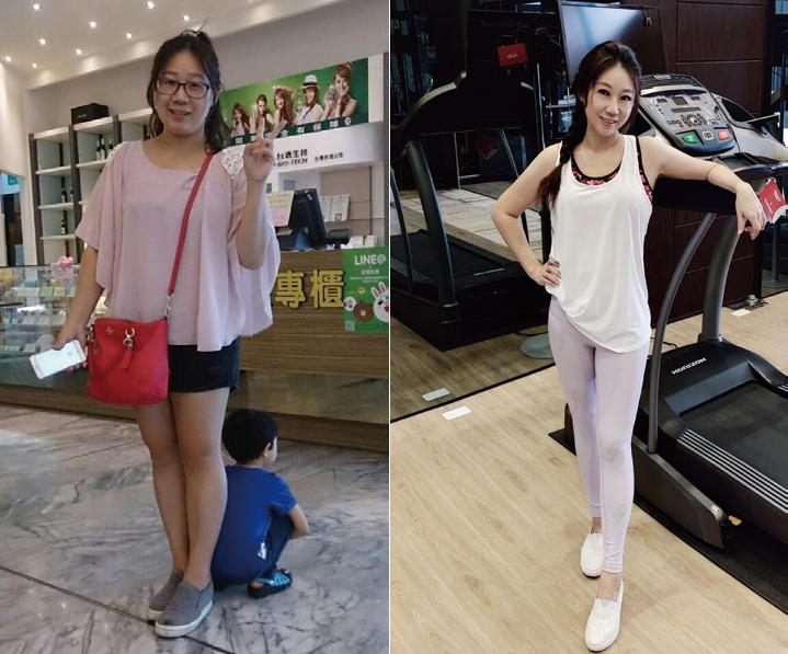 2016年(左)圈媽身材豐腴,右為2019年的圈媽近照。 圖/采實文化 提供