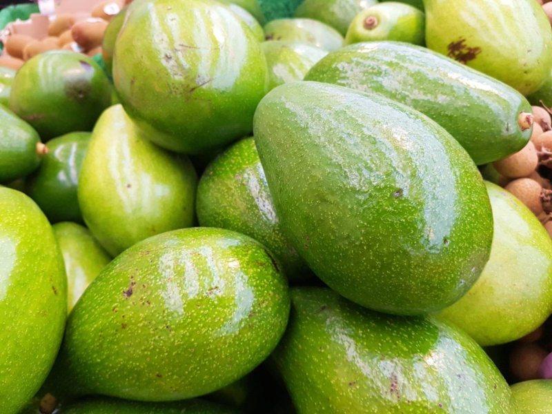 許多品種的酪梨,成熟也不會變色,因此仍要用手指按壓來判斷。 圖/陳睿中 攝影